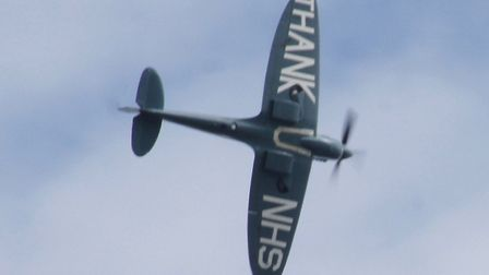 The Spitfire NHS flypast over Torbay Hospital. Photo: Stephen Coombes
