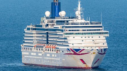 A modern-day visitor and the latest cruise ship off Torbay, P & O's 'Arcadia. Pic: Jay Richards