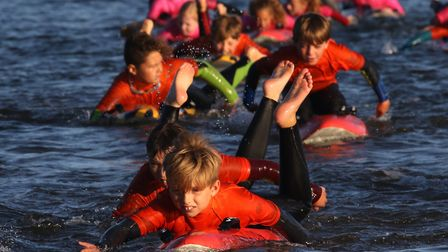 The Sidmouth Surf Life Saving Club in action during a recent training session. Picture: Simon Horn