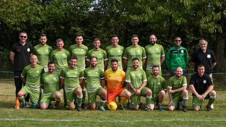 Otterton 1st team line up before launching a new Joma Devon & Exeter League campaign with a thrillin