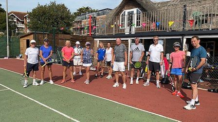 Sidmouth Tennis Club tournament and the group one players. Picture; SIDMOUTH TENNIS CLUB