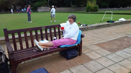 Anita resting during the Sidmouth Bowls Club Final Drive. Picture: CAROL SMITH