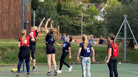 Action from a Sidmouth Netball Club match. Picture; SIDMOUTH NETBALL CLUB