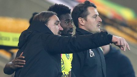 Norwich head coach Daniel Farke gives instructions to Alex Tettey during City's home win over Swanse
