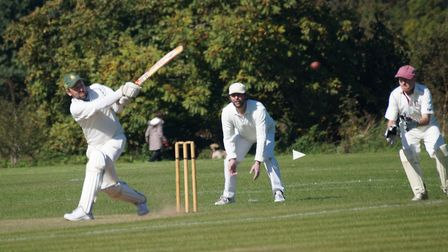 Tipton batsman David Thayre hits out on his way to a century in the final game of the season, a fine