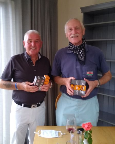 The winners of the Sidmouth Golf Club captains Away Day meeting, held at Dainton. Brian Margison (left) and Paul Blay with...