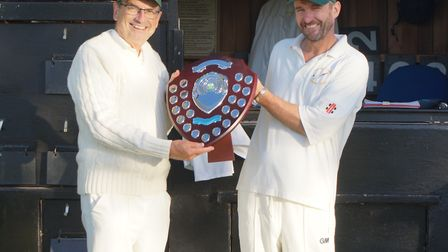 Phil Wright (left) receives the Tipton Cricket Club Clubman of the Year award. Picture: TIPTON CC