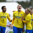 GOAL! Danny Wright celebrates with Ben Whitfield having dramatically scored from the penalty spot du