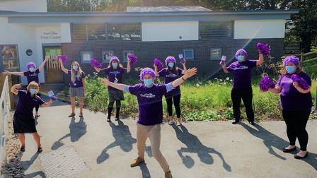 NHS and Over & Above staff at North Devon District Hospital launch Big Purple Week 2020, which start