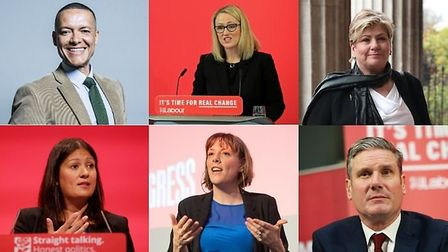 Clive Lewis, Rebecca Long-Bailey, Emily Thornberry, Lisa Nandy, Jess Phillips and Keir Starmer. Photograph: PA/Archant.