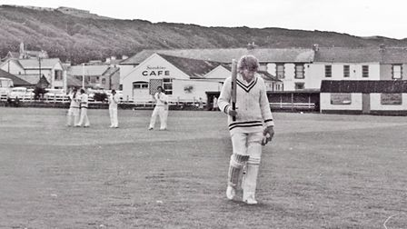 Richards leaves the field after his innings