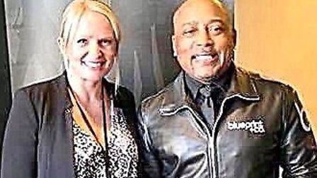 Hannah Perry with investor Daymond John of US Shark Tank, their version of Dragon's Den