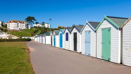 Colourful beach huts at Youngs Park, Goodrington