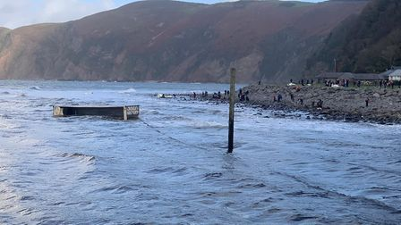 The container at Lynmouth beach.