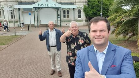 Torbay MP Kevin Foster and Torquay town centre campaigners Roger Heath (left) and John Doherty outsi