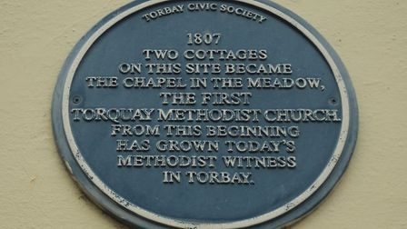 The Blue Plaque on the site of The Chapel in the Meadow