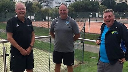 From left, David Rawlinson, British LTA president, Any Pelling, chairman Torquay Tennis Club and Dav