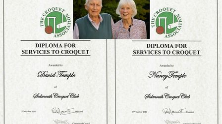 The Croquet Association Diploma that has been awarded to David and Nacy Temple of Sidmouth Croquert