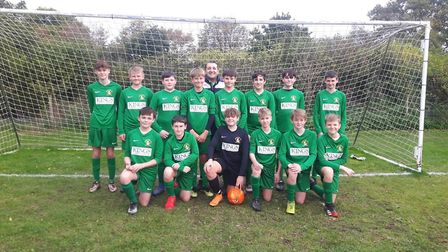 Sidmouth Town Under-14s before their latest Exeter and District Youth League outing. Picture; STFC