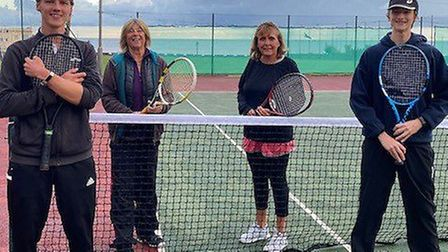 The Sidmouth Tennis Club Mixed A team (left to right) Greg Shipp, Vici Topping, Debbie Snelgrove and