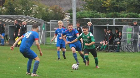 Action from the Sidmouth Town 6-0 South West Peninsula League Premier East win over Stoke Gabriel. Picture: MARK EBURNE