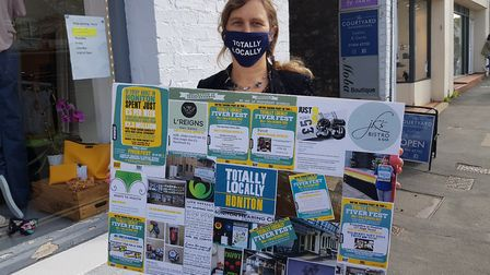 Liz Pole promoting the Fiver Fest Picture: Totally Locally Honiton