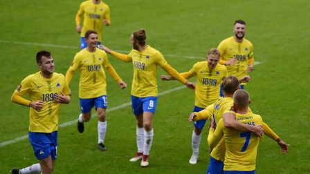 Goal celebrations for Connor Lemonheigh-Evans during Torquay United v Stockport County last Saturday
