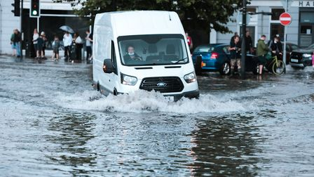 Flooding in the Square in Barnstaple. Picture: Caitlyn Ebsworthy