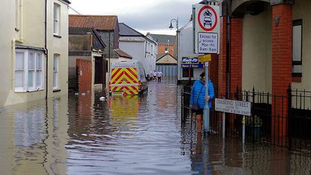 Flooding in and around the Square in Barnstaple. Picture: Simon Ellery