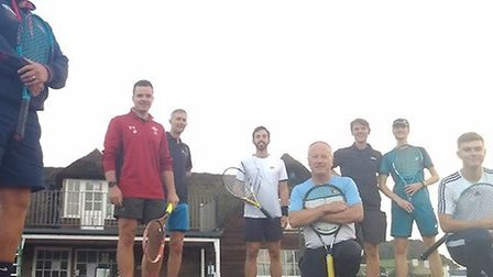 Sidmouth and Tipton tennis players before their meeting; back row the Sidmouth players (left to righ