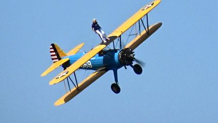 Heather Smith during her wing-walk challenge