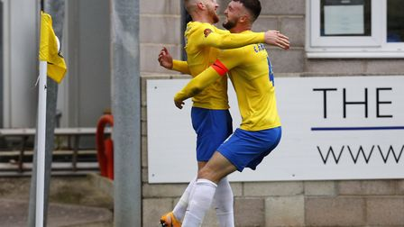 Goal celebrations for Kyle Cameron with Connor Lemonheigh-Evans. Photo: Dave Crawford/PPAUK