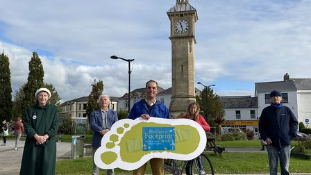 The launch in Barnstaple Square of the first ever Find Your Footprint Week. Picture: Tony Gussin