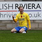 Goal celebrations for Ben Whitfield. Photo: Dave Crawford/PPAUK