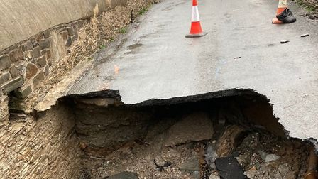 The sinkhole in the road at Lee Bay, Ilfracombe. Picture: Pat Coates