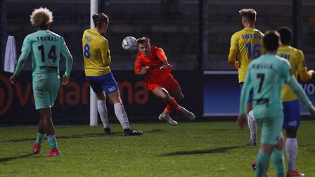 Shaun McDonald makes a crucial save in the dying seconds during the match between Torquay United and