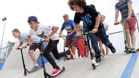 Youngsters try out the new ramps at honiton skate park. Ref mhh 3743-36-14AW. Picture: Alex Walton