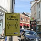 A social distancing reminder in Barnstaple. Picture: Matt Smart