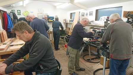 A typical workshop session at Beer Men's Shed. Picture: Beer Men's Shed.
