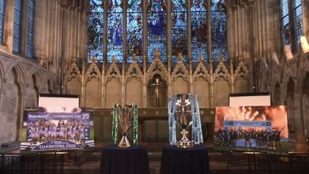 Exeter Chiefs' trophis on display at Exeter Cathedral