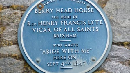 The blue plaque at Berry Head House