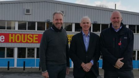 Alan Murdoch, flanked by Richard and Michael Ford, is retiring from BJ's Value House in Barnstaple a