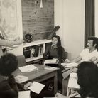 Brian Hawthorne teaching a class in the early years of the school