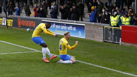 Ben Whitfield of Torquay United celebrates his goal during the National League match between Torquay