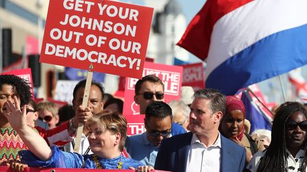 Emily Thornberry andSir Keir Starmer at an anti-Brexit 'Trust the People' march