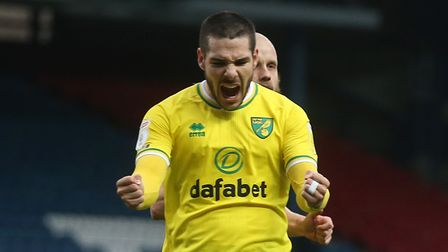 Emiliano Buendia of Norwich celebrates his sides 1st goal scored by Teemu Pukki of Norwich during th