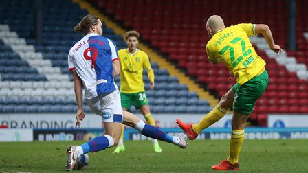 Teemu Pukki of Norwich scores his sides 1st goal during the Sky Bet Championship match at Ewood Park