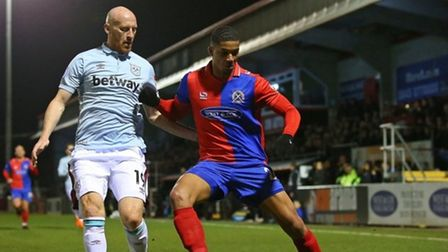 James Collins of West Ham and Mason Bloomfield of Dagenham during a friendly Picture: Gavin Ellis/TG