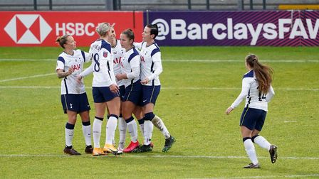Tottenham Hotspur's Alex Morgan celebrates after scoring her side's first goal of the game during th