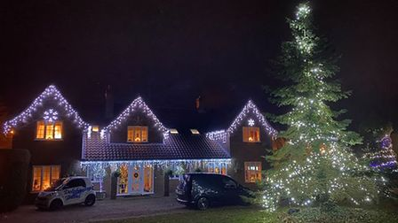 People in Thorpe End have put up Christmas lights to fundraise for Nelson's Journey.